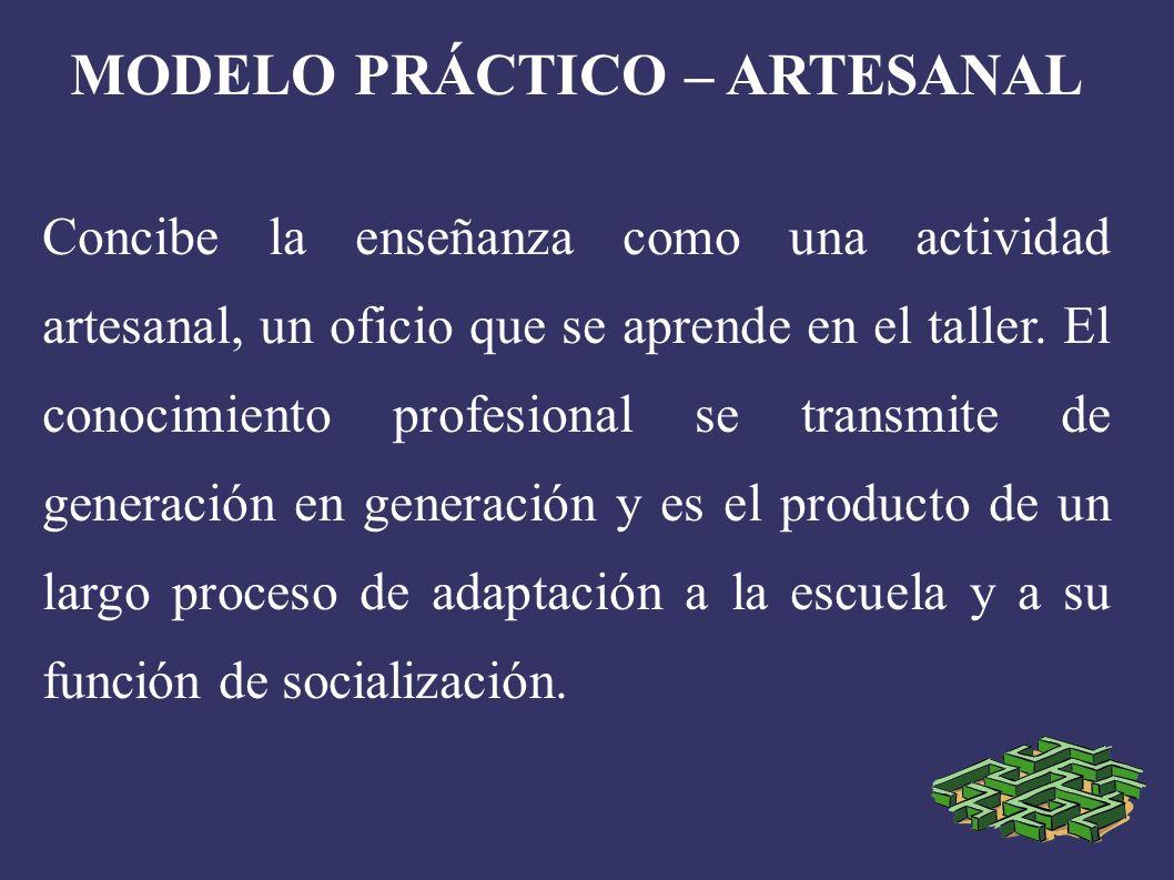MODELO PRÁCTICO – ARTESANAL Concibe la enseñanza como una actividad artesanal, un oficio que se aprende en el taller.