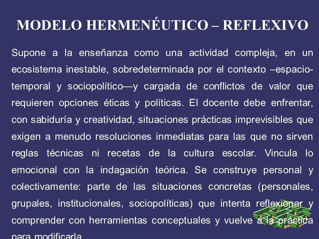 MODELO HERMENÉUTICO – REFLEXIVO Supone a la enseñanza como una actividad compleja, en un ecosistema inestable, sobredeterminada por el contexto –espacio- temporal y sociopolíticoy cargada de conflictos de valor que requieren opciones éticas y políticas.