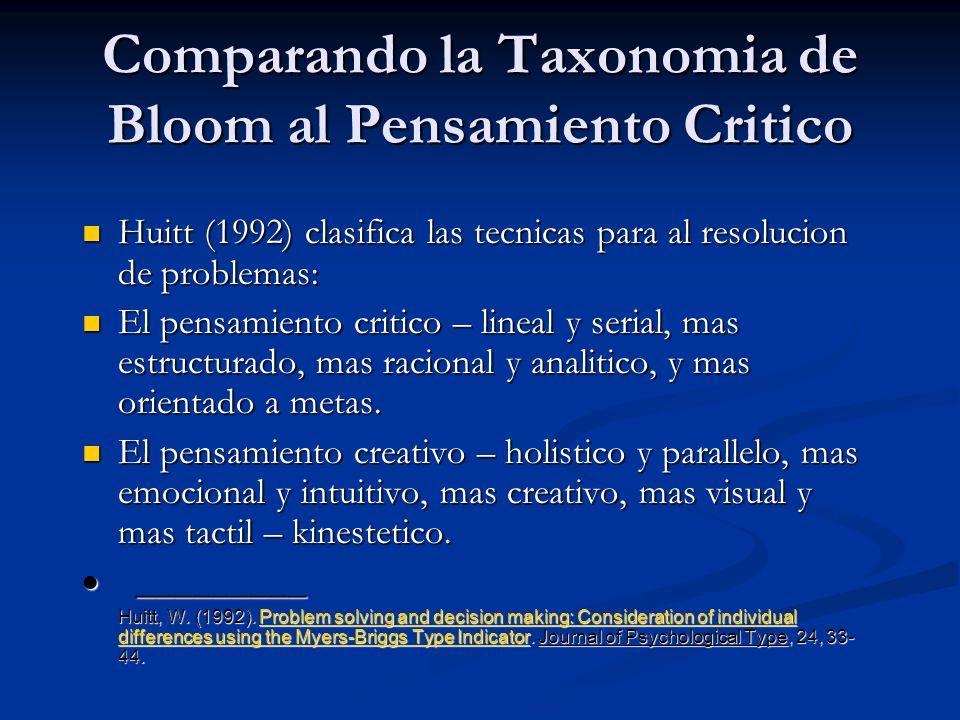 Comparando la Taxonomia de Bloom al Pensamiento Critico Huitt (1992) clasifica las tecnicas para al resolucion de problemas: Huitt (1992) clasifica la
