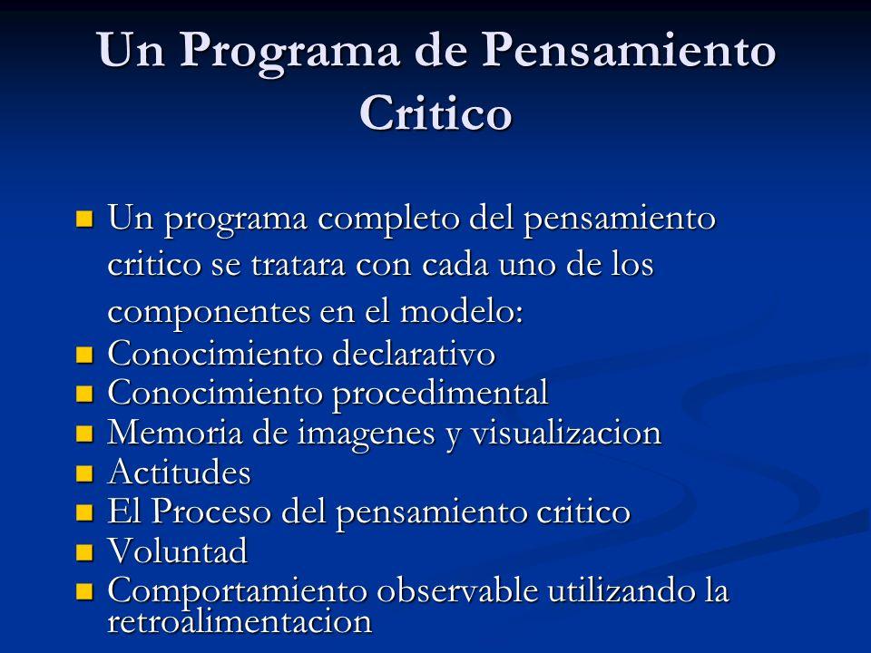 Un Programa de Pensamiento Critico Un programa completo del pensamiento critico se tratara con cada uno de los componentes en el modelo: Un programa c