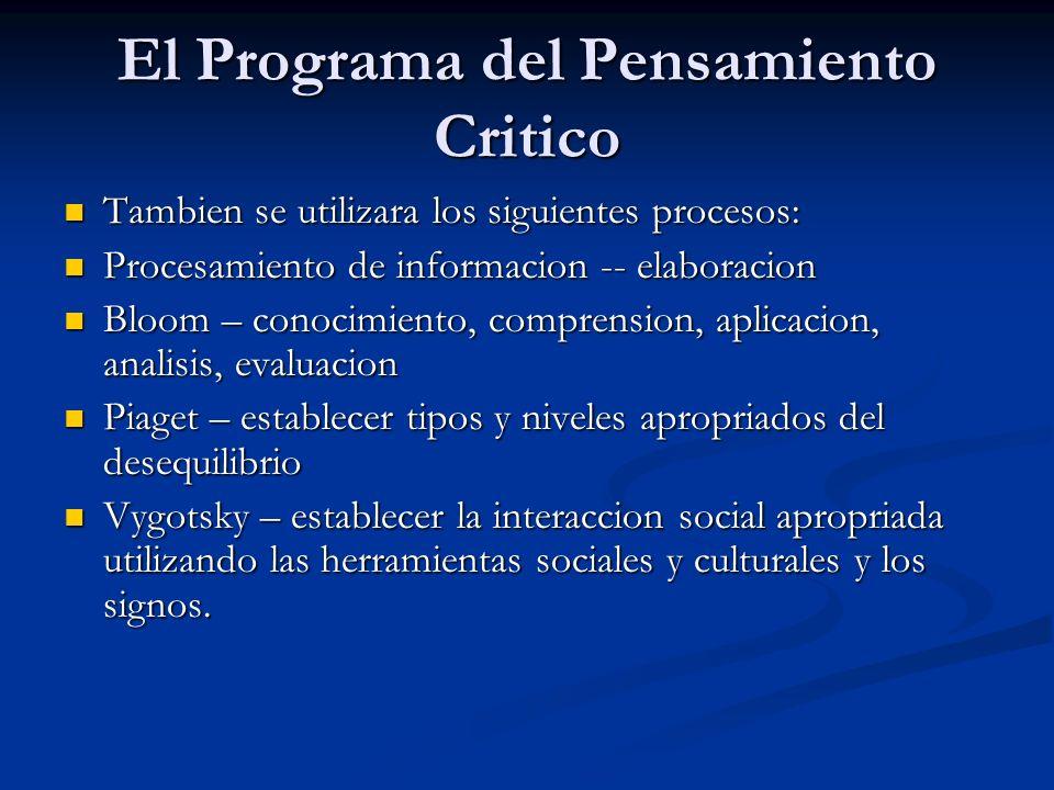 El Programa del Pensamiento Critico Tambien se utilizara los siguientes procesos: Tambien se utilizara los siguientes procesos: Procesamiento de infor