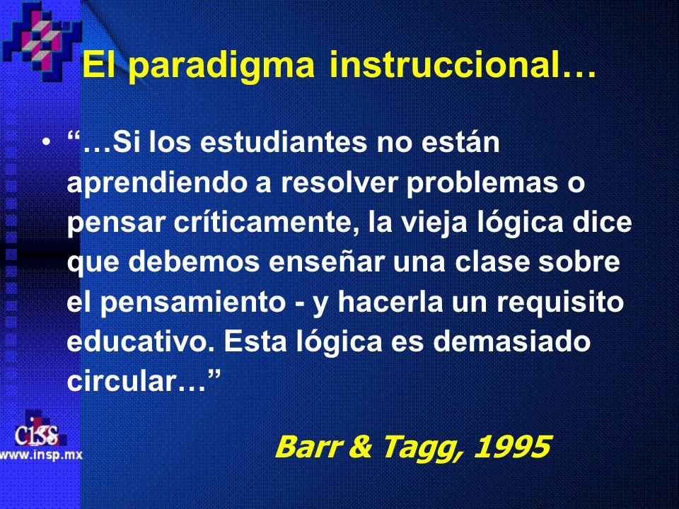 El paradigma instruccional… …Si los estudiantes no están aprendiendo a resolver problemas o pensar críticamente, la vieja lógica dice que debemos ense