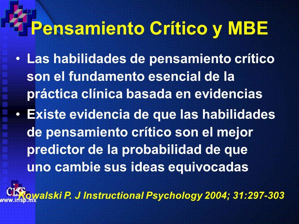Pensamiento Crítico y MBE Las habilidades de pensamiento crítico son el fundamento esencial de la práctica clínica basada en evidencias Existe evidenc