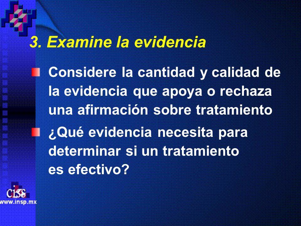 3. Examine la evidencia Considere la cantidad y calidad de la evidencia que apoya o rechaza una afirmación sobre tratamiento ¿Qué evidencia necesita p