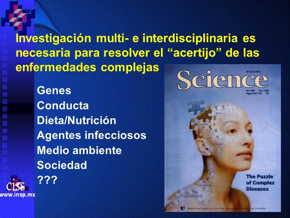 Investigación multi- e interdisciplinaria es necesaria para resolver el acertijo de las enfermedades complejas Genes Conducta Dieta/Nutrición Agentes