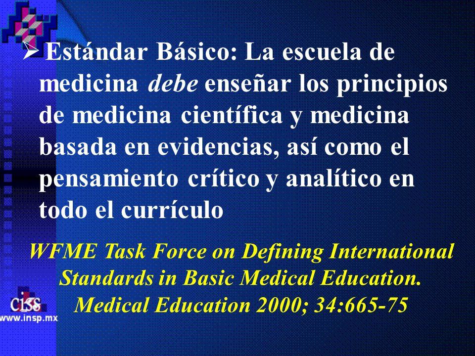 Estándar Básico: La escuela de medicina debe enseñar los principios de medicina científica y medicina basada en evidencias, así como el pensamiento cr