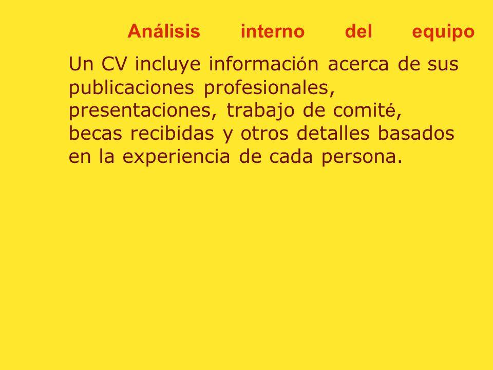 Análisis interno del equipo Un CV de licenciatura y maestría tiene aproximadamente de una a tres paginas. Un CV de doctorado tiene de dos a cinco pagi
