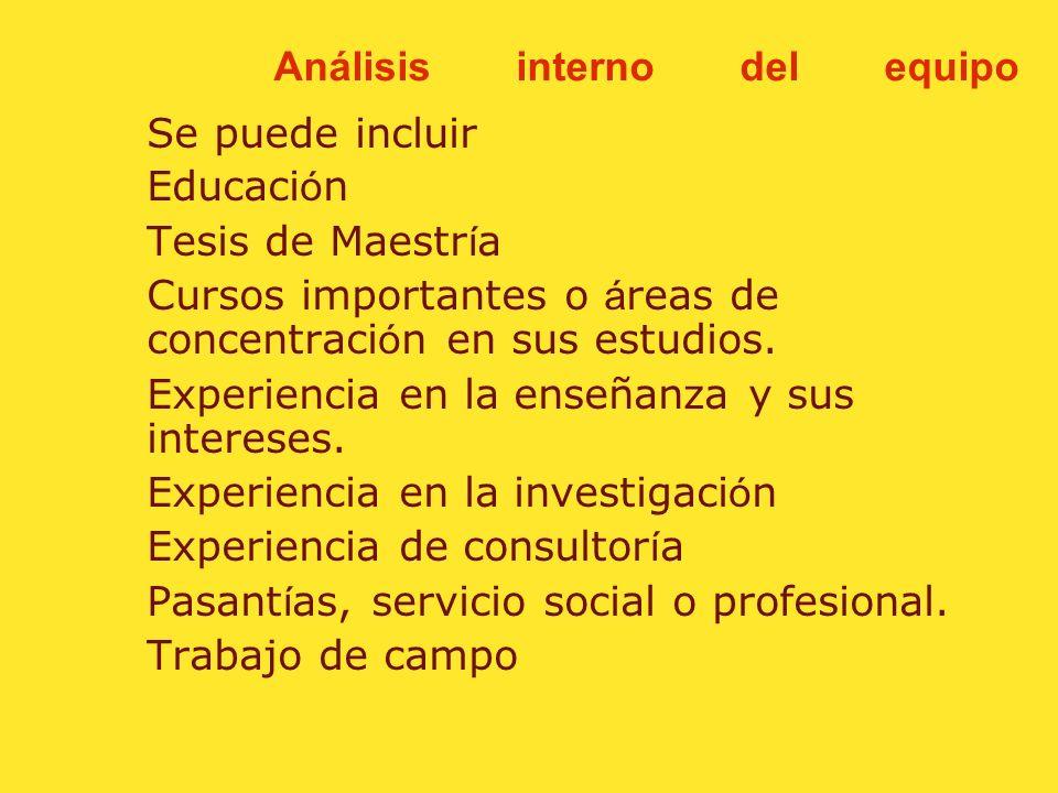 Análisis interno del equipo Un CV incluye informaci ó n acerca de sus publicaciones profesionales, presentaciones, trabajo de comit é, becas recibidas