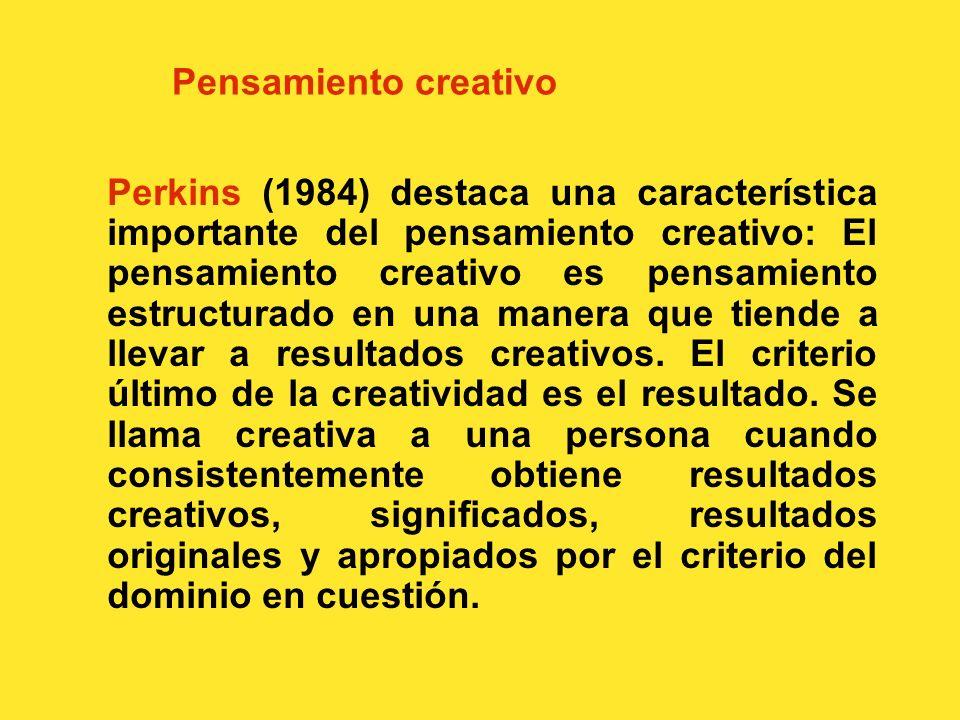 Pensamiento creativo Se puede definir de varias maneras. Halpern (1984) afirma que
