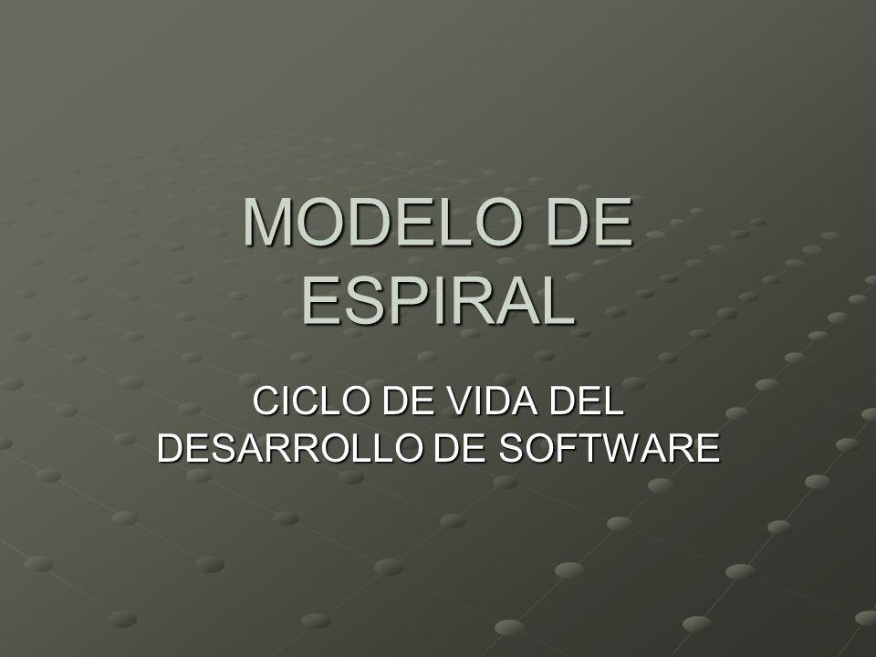 MODELO DE ESPIRAL CICLO DE VIDA DEL DESARROLLO DE SOFTWARE