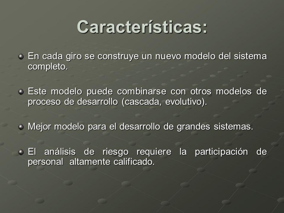 Características: En cada giro se construye un nuevo modelo del sistema completo. Este modelo puede combinarse con otros modelos de proceso de desarrol