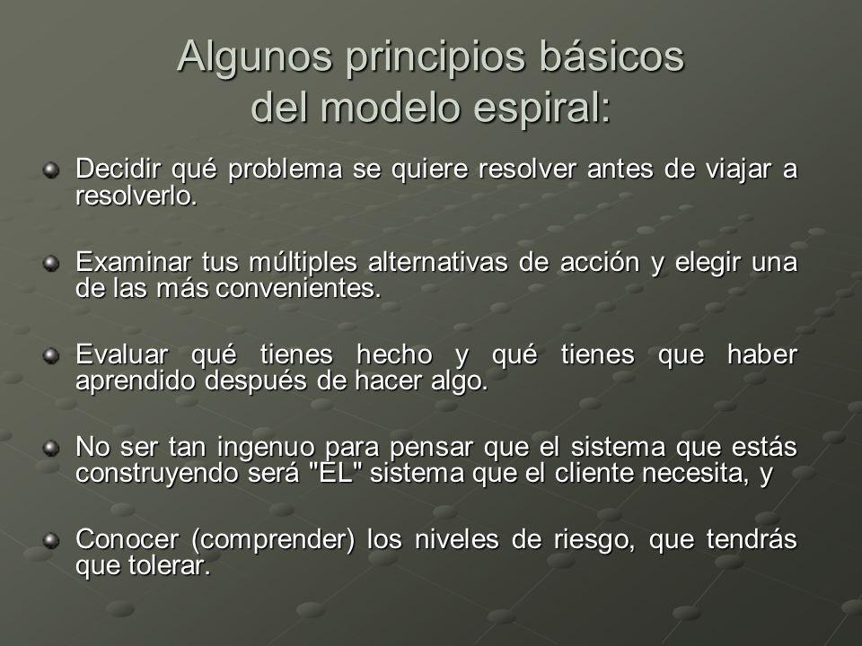 Algunos principios básicos del modelo espiral: Decidir qué problema se quiere resolver antes de viajar a resolverlo. Examinar tus múltiples alternativ