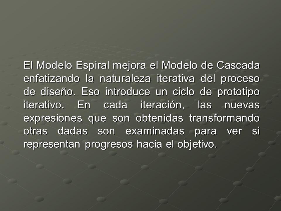 El Modelo Espiral mejora el Modelo de Cascada enfatizando la naturaleza iterativa del proceso de diseño. Eso introduce un ciclo de prototipo iterativo