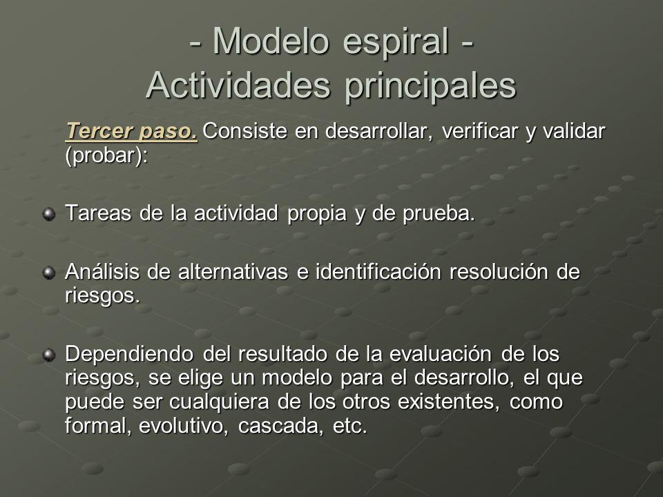 Tercer paso. Consiste en desarrollar, verificar y validar (probar): Tareas de la actividad propia y de prueba. Análisis de alternativas e identificaci