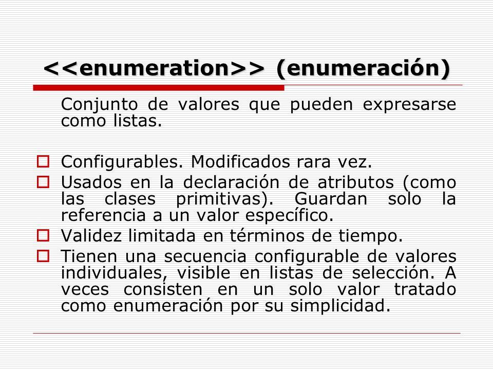 > (enumeración) > (enumeración) Conjunto de valores que pueden expresarse como listas.