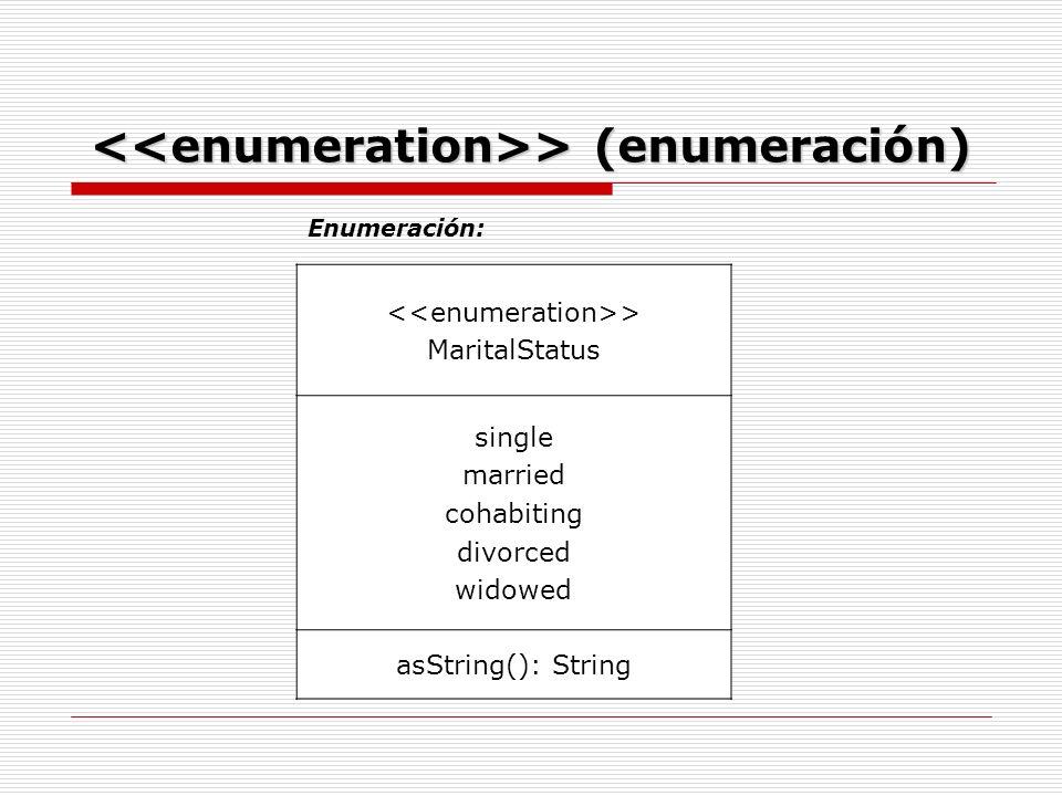 Enumeración: > MaritalStatus single married cohabiting divorced widowed asString(): String > (enumeración) > (enumeración)