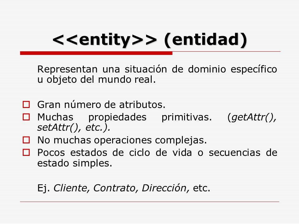 > (entidad) > (entidad) Representan una situación de dominio específico u objeto del mundo real.