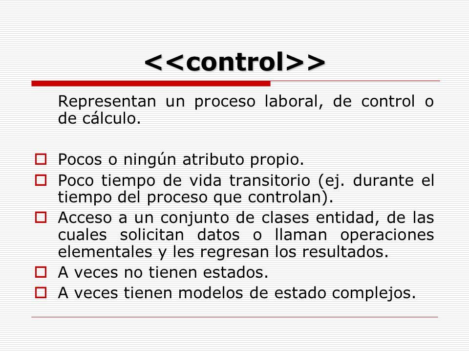 <<control>> Representan un proceso laboral, de control o de cálculo.
