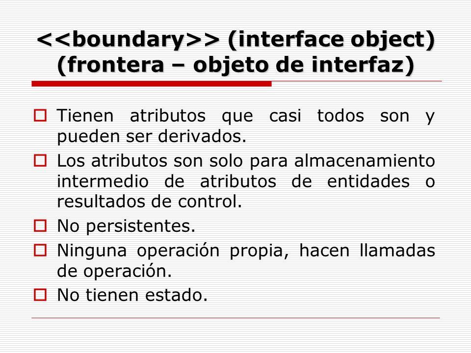 > (interface object) (frontera – objeto de interfaz) > (interface object) (frontera – objeto de interfaz) Tienen atributos que casi todos son y pueden ser derivados.