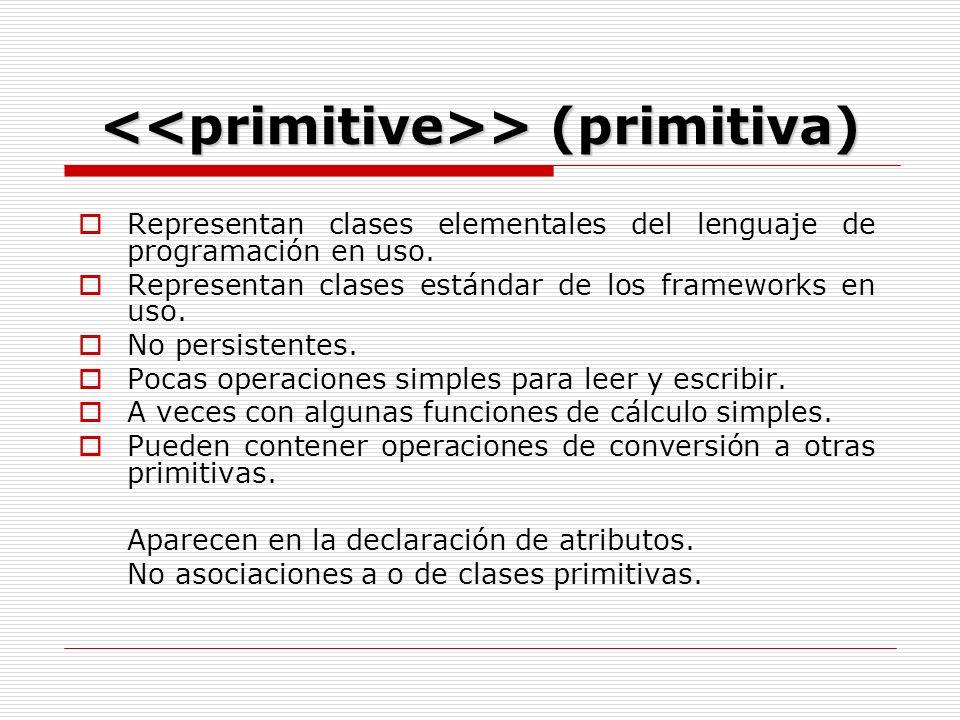 > (primitiva) > (primitiva) Representan clases elementales del lenguaje de programación en uso.