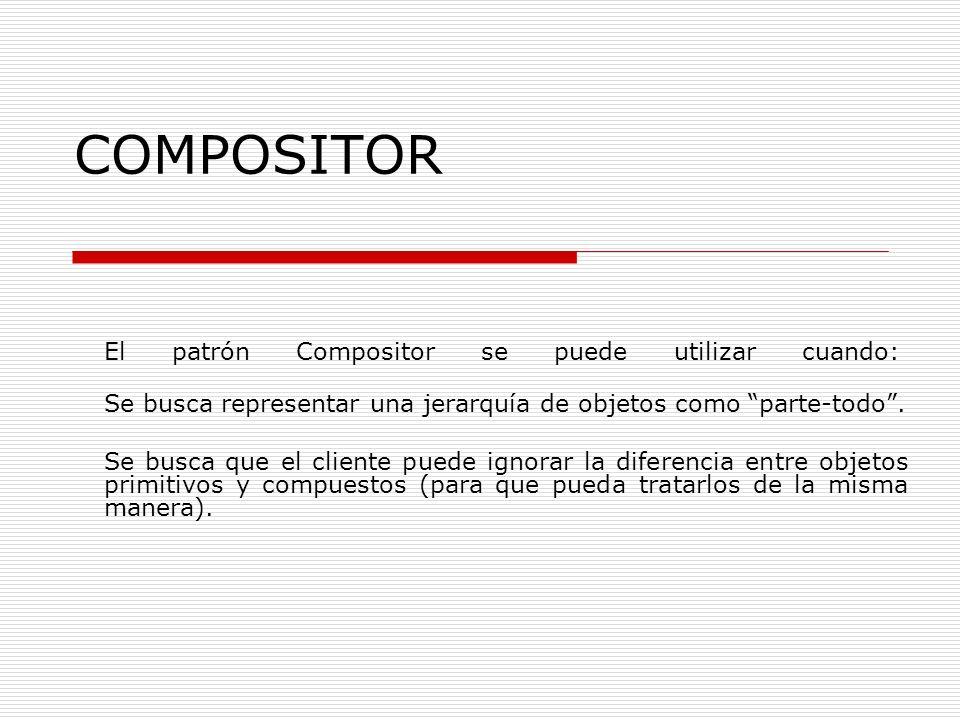COMPOSITOR El patrón Compositor se puede utilizar cuando: Se busca representar una jerarquía de objetos como parte-todo. Se busca que el cliente puede