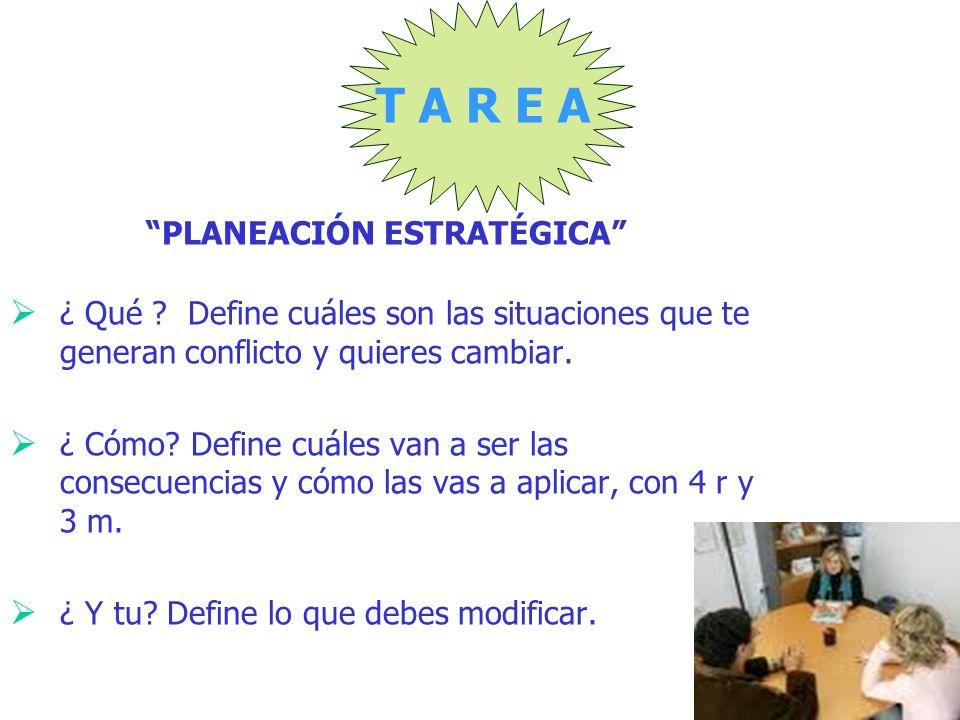 T A R E A PLANEACIÓN ESTRATÉGICA ¿ Qué ? Define cuáles son las situaciones que te generan conflicto y quieres cambiar. ¿ Cómo? Define cuáles van a ser