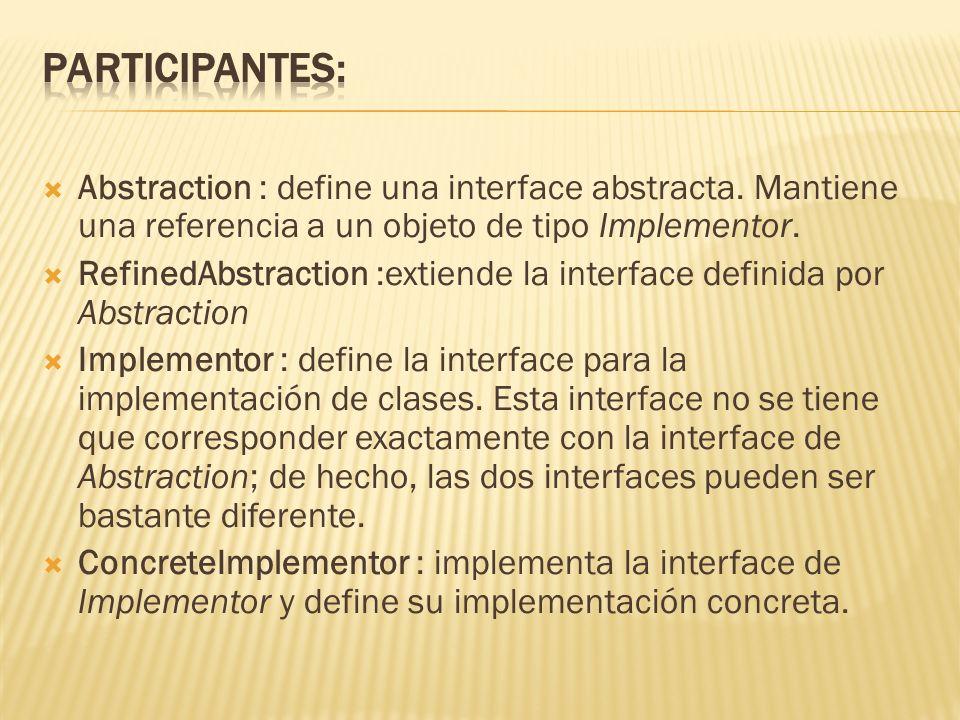 Abstraction : define una interface abstracta. Mantiene una referencia a un objeto de tipo Implementor. RefinedAbstraction :extiende la interface defin