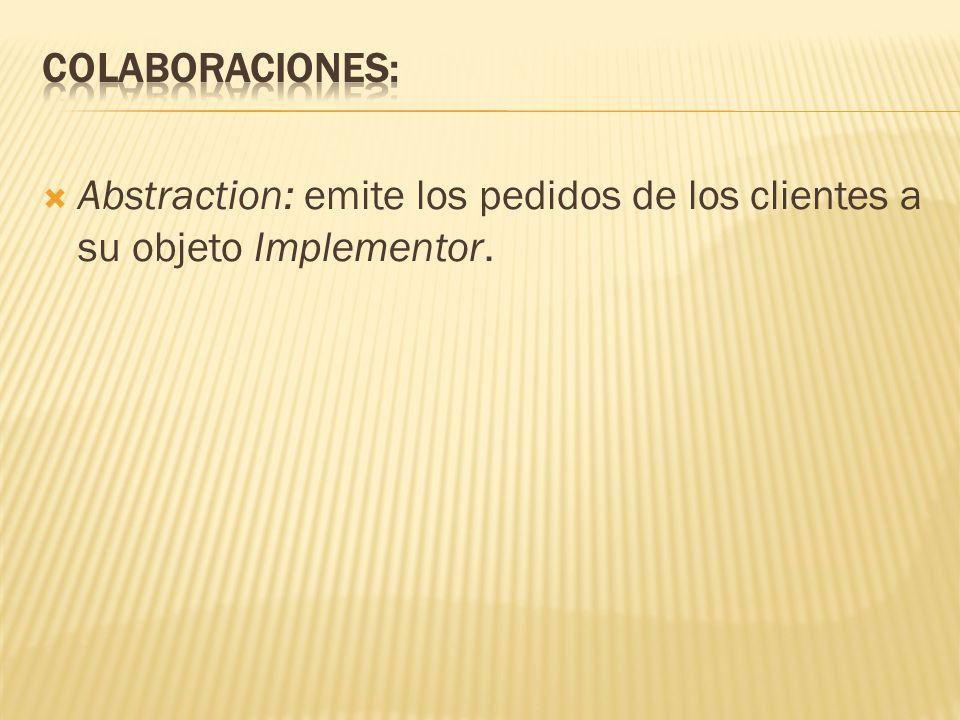 Abstraction: emite los pedidos de los clientes a su objeto Implementor.