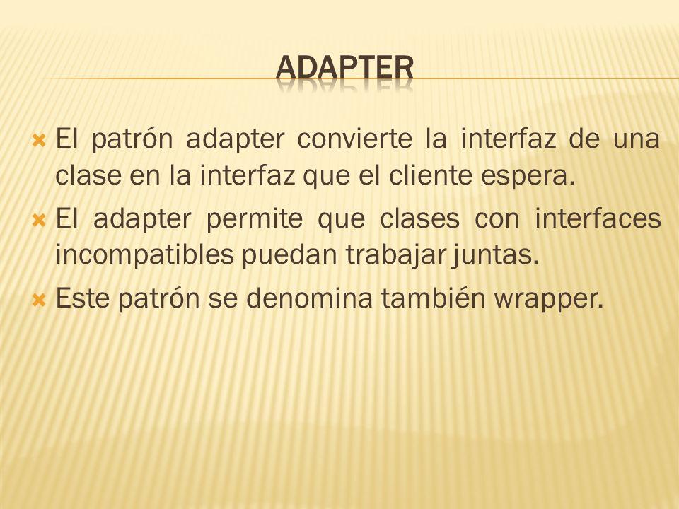 El patrón adapter convierte la interfaz de una clase en la interfaz que el cliente espera. El adapter permite que clases con interfaces incompatibles