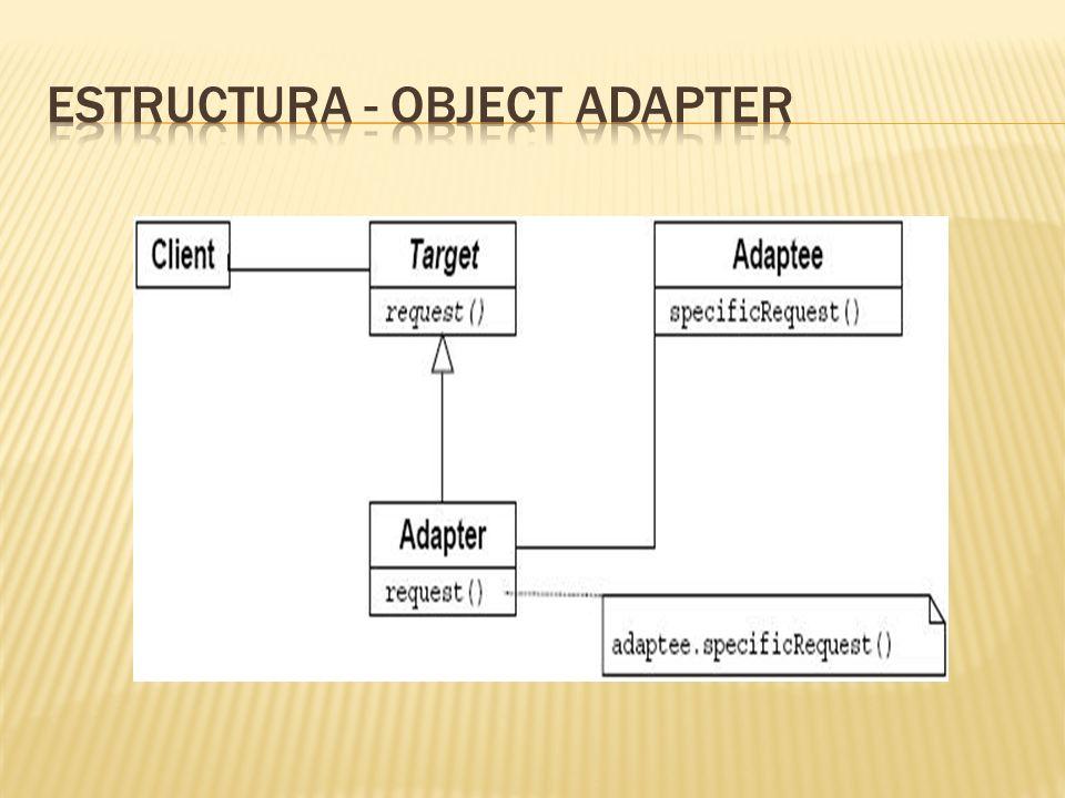 Target: Define la interfaz especifica del dominio en el que se quiere hacer uso de la clase que se adapta.