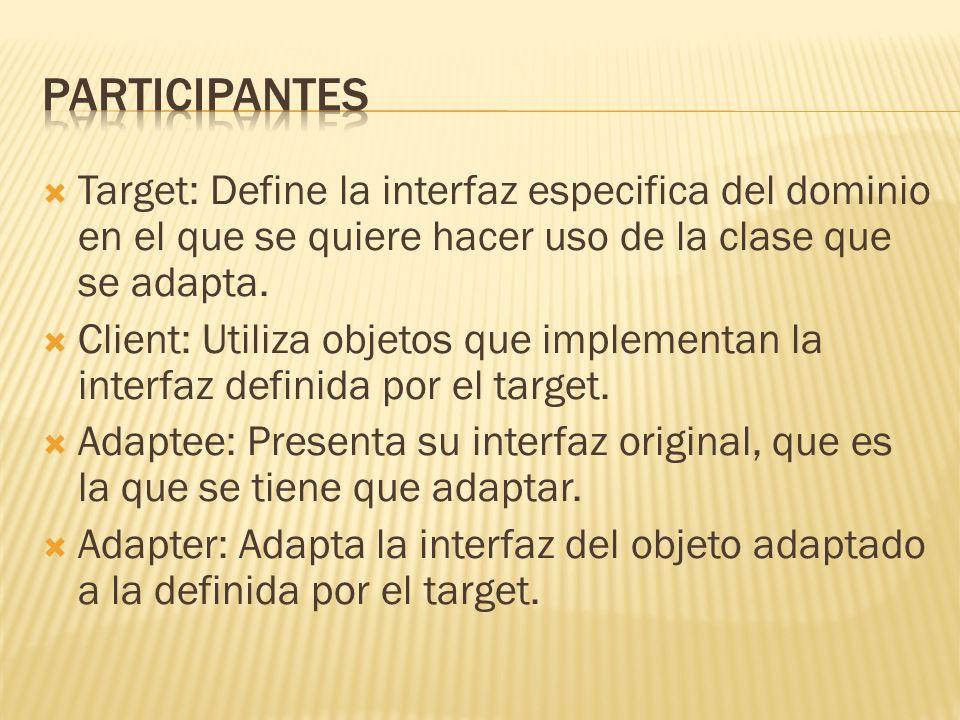 Target: Define la interfaz especifica del dominio en el que se quiere hacer uso de la clase que se adapta. Client: Utiliza objetos que implementan la