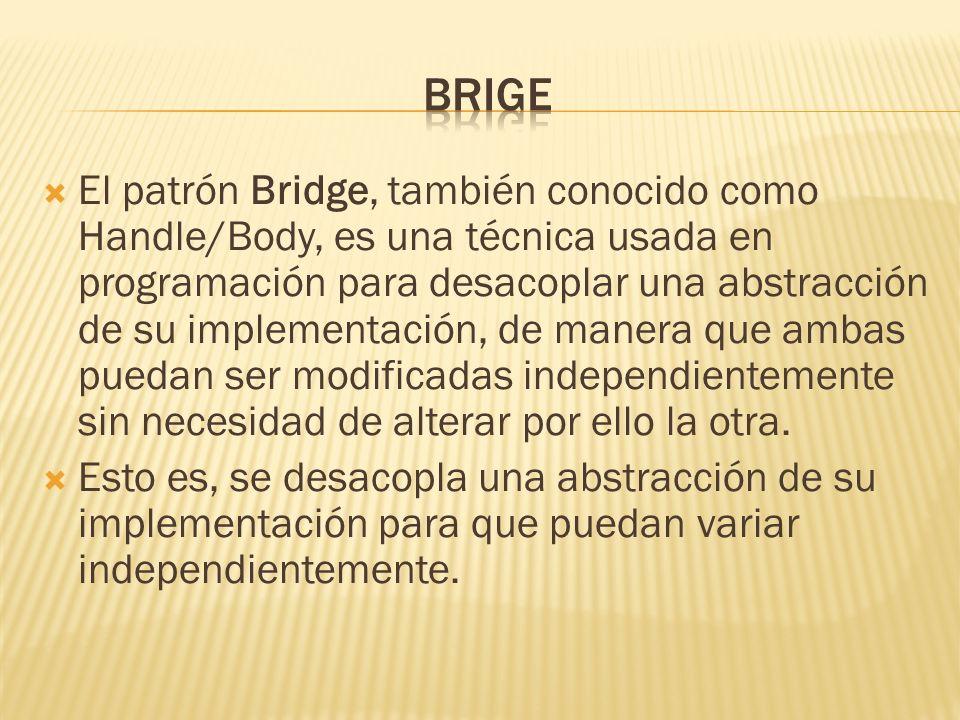 El patrón Bridge, también conocido como Handle/Body, es una técnica usada en programación para desacoplar una abstracción de su implementación, de man