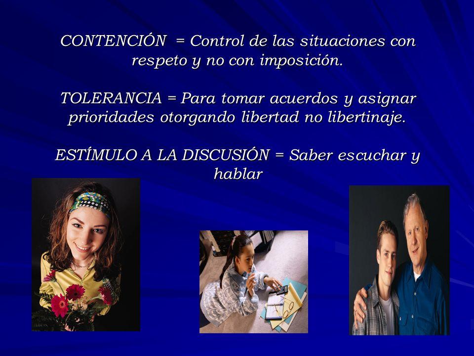 CONTENCIÓN = Control de las situaciones con respeto y no con imposición.