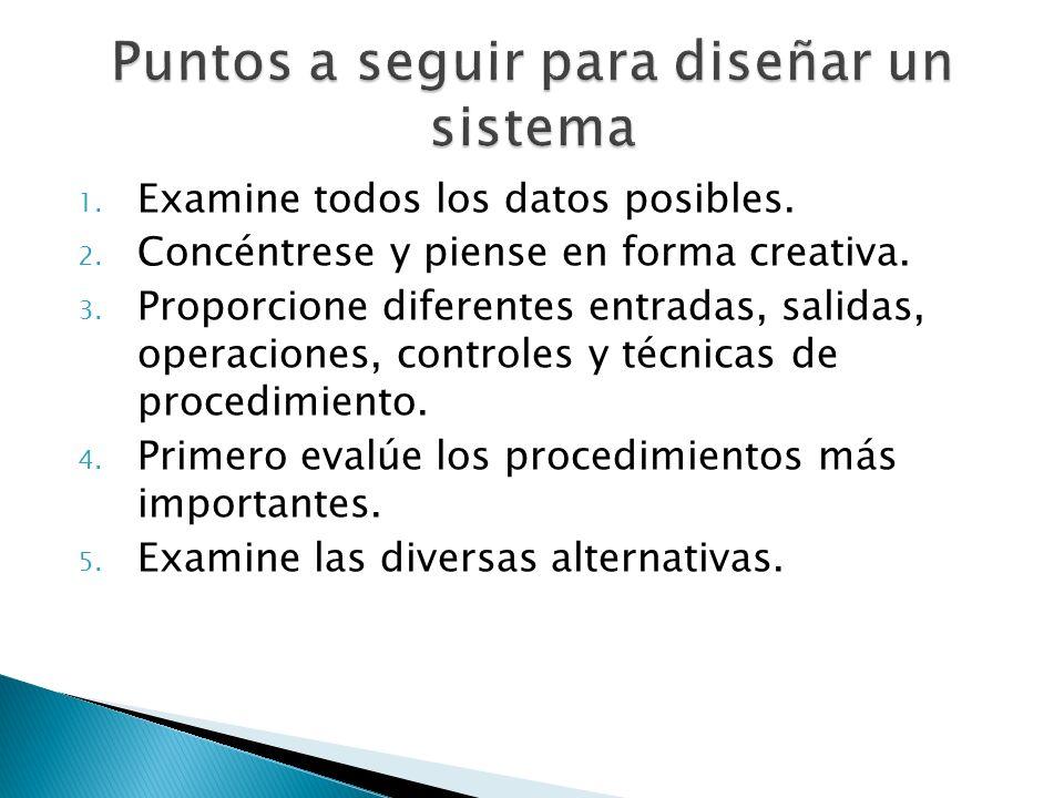 1. Examine todos los datos posibles. 2. Concéntrese y piense en forma creativa. 3. Proporcione diferentes entradas, salidas, operaciones, controles y