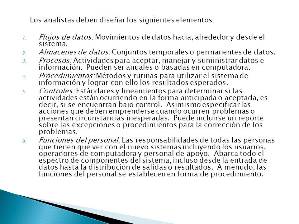 Los analistas deben diseñar los siguientes elementos: 1. Flujos de datos: Movimientos de datos hacia, alrededor y desde el sistema. 2. Almacenes de da