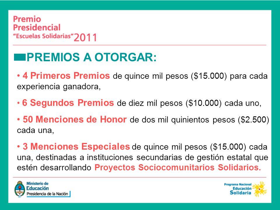 PREMIOS A OTORGAR: 4 Primeros Premios de quince mil pesos ($15.000) para cada experiencia ganadora, 6 Segundos Premios de diez mil pesos ($10.000) cad