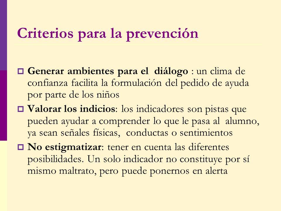 Criterios para la prevención Generar ambientes para el diálogo : un clima de confianza facilita la formulación del pedido de ayuda por parte de los ni