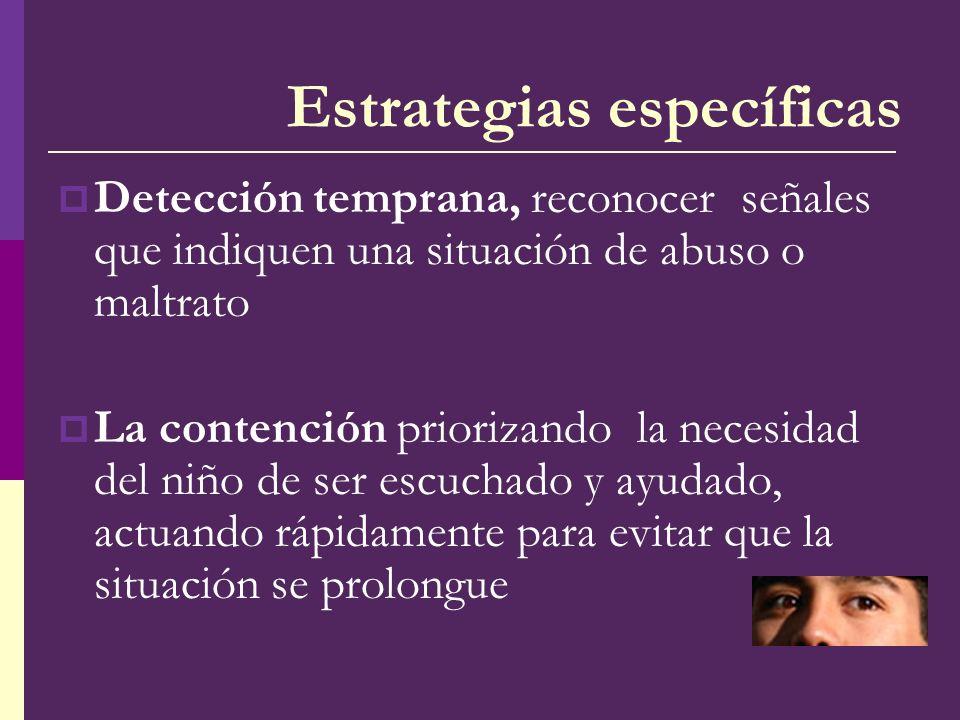 Estrategias específicas Detección temprana, reconocer señales que indiquen una situación de abuso o maltrato La contención priorizando la necesidad de