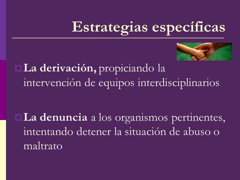 La derivación, propiciando la intervención de equipos interdisciplinarios La denuncia a los organismos pertinentes, intentando detener la situación de