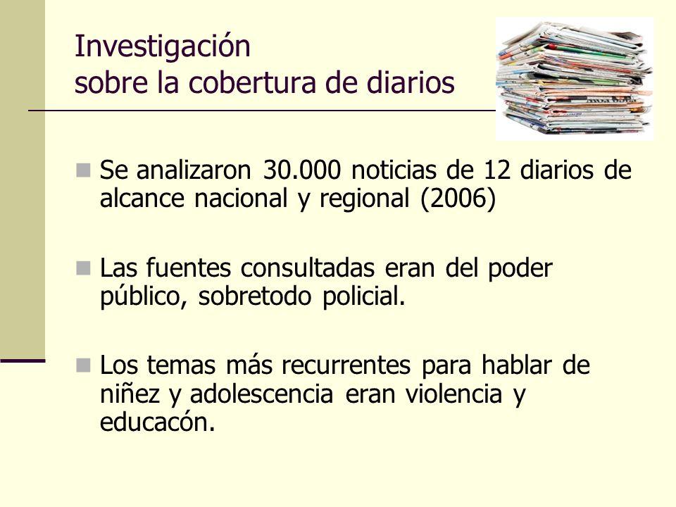 Investigación sobre la cobertura de diarios Se analizaron 30.000 noticias de 12 diarios de alcance nacional y regional (2006) Las fuentes consultadas eran del poder público, sobretodo policial.