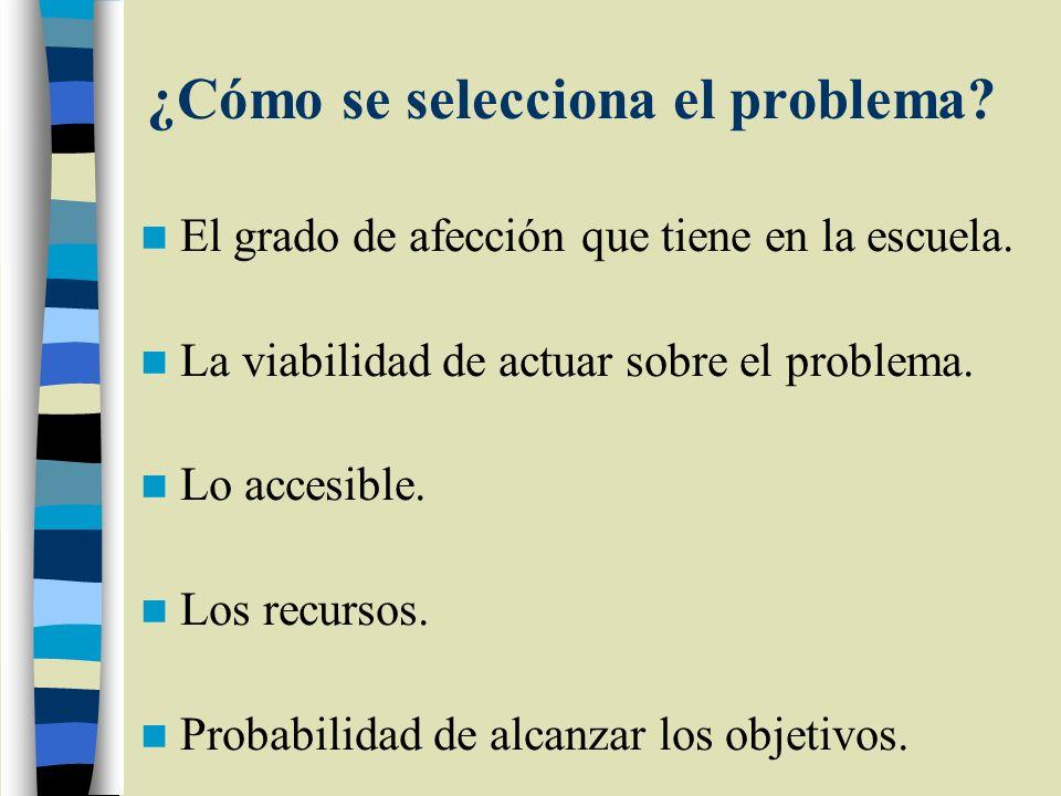 ¿Cómo se selecciona el problema? El grado de afección que tiene en la escuela. La viabilidad de actuar sobre el problema. Lo accesible. Los recursos.