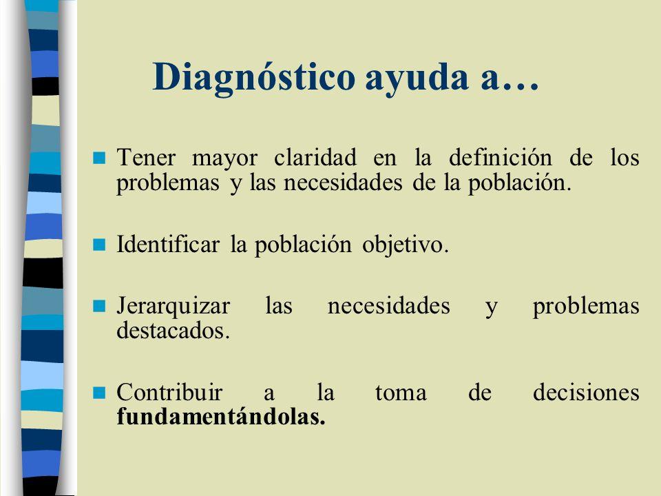Diagnóstico ayuda a… Tener mayor claridad en la definición de los problemas y las necesidades de la población. Identificar la población objetivo. Jera