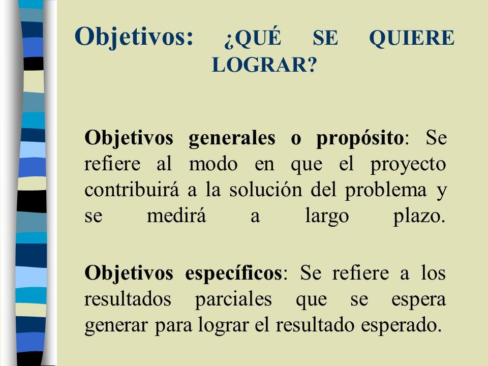 Objetivos: ¿QUÉ SE QUIERE LOGRAR? Objetivos generales o propósito: Se refiere al modo en que el proyecto contribuirá a la solución del problema y se m