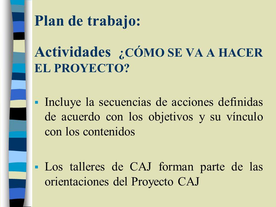 Plan de trabajo: Actividades ¿CÓMO SE VA A HACER EL PROYECTO? Incluye la secuencias de acciones definidas de acuerdo con los objetivos y su vínculo co