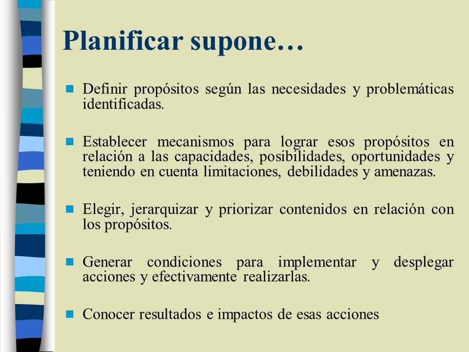 Planificar supone… Definir propósitos según las necesidades y problemáticas identificadas. Establecer mecanismos para lograr esos propósitos en relaci