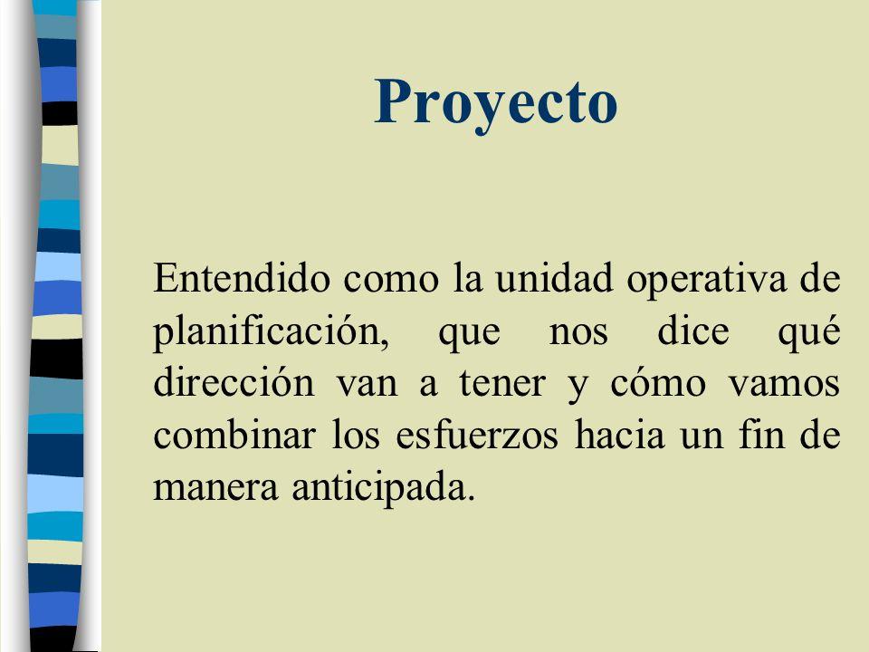 Proyecto Tiene una articulación con los Planes y los Programas, nunca es una intervención aislada.