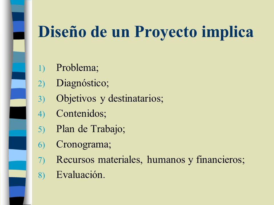 Diseño de un Proyecto implica 1) Problema; 2) Diagnóstico; 3) Objetivos y destinatarios; 4) Contenidos; 5) Plan de Trabajo; 6) Cronograma; 7) Recursos