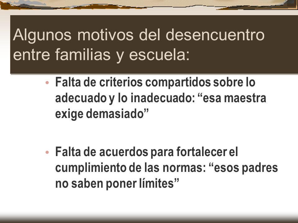 Algunos motivos del desencuentro entre familias y escuela: Falta de criterios compartidos sobre lo adecuado y lo inadecuado: esa maestra exige demasia