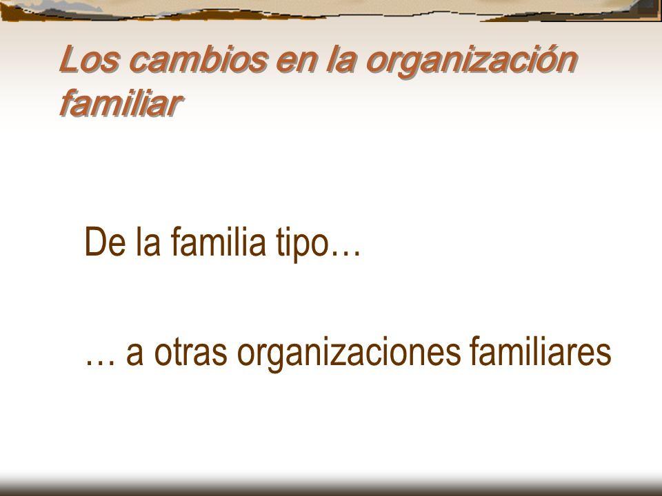 Los cambios en la organización familiar De la familia tipo… … a otras organizaciones familiares