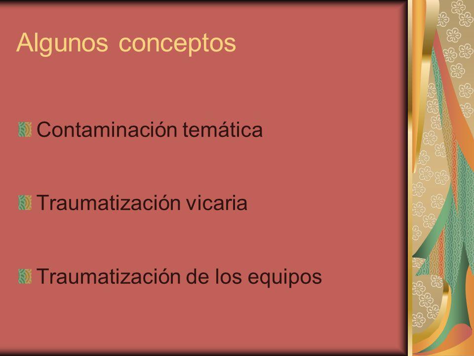 Algunos conceptos Contaminación temática Traumatización vicaria Traumatización de los equipos